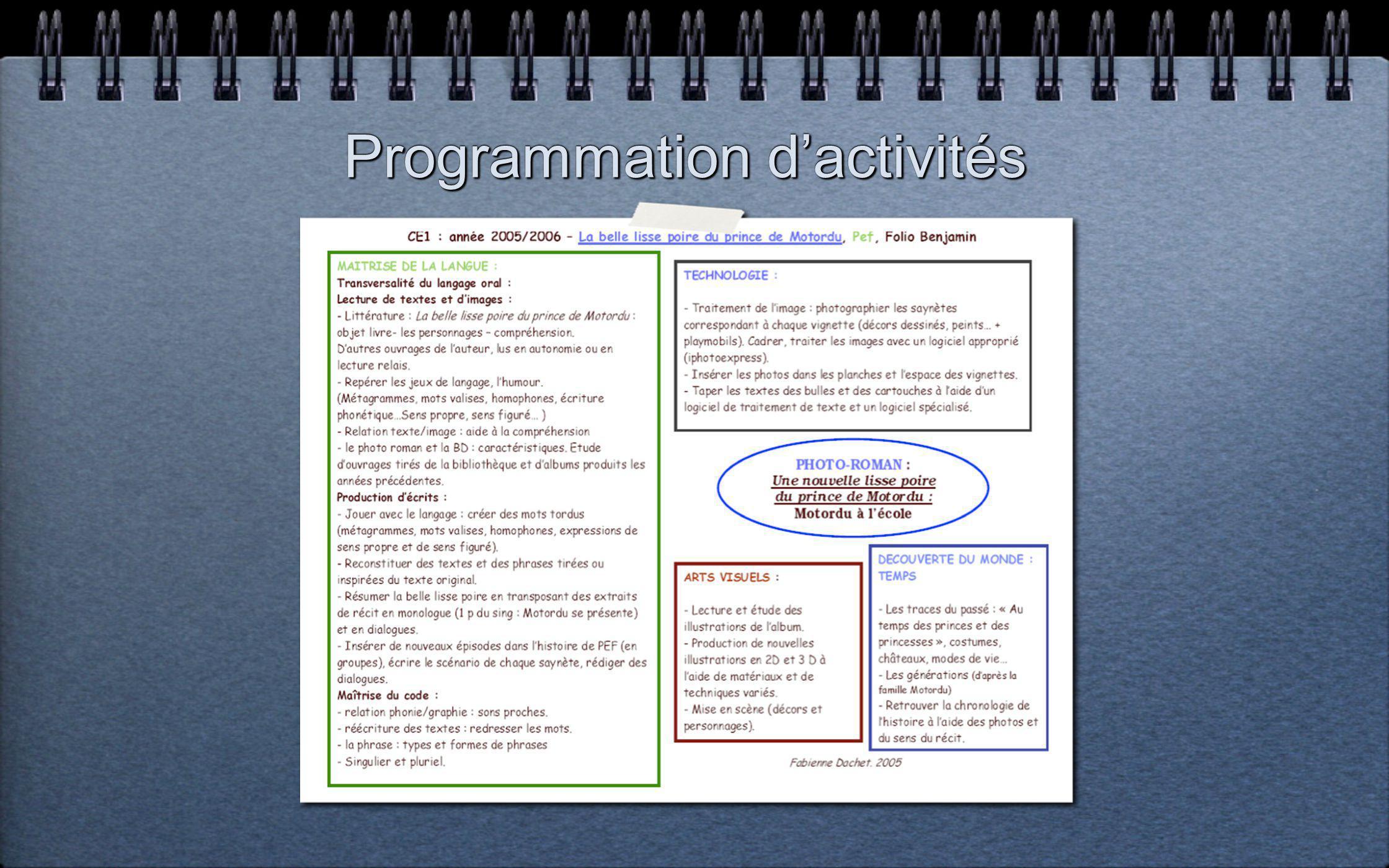 Programmation d'activités