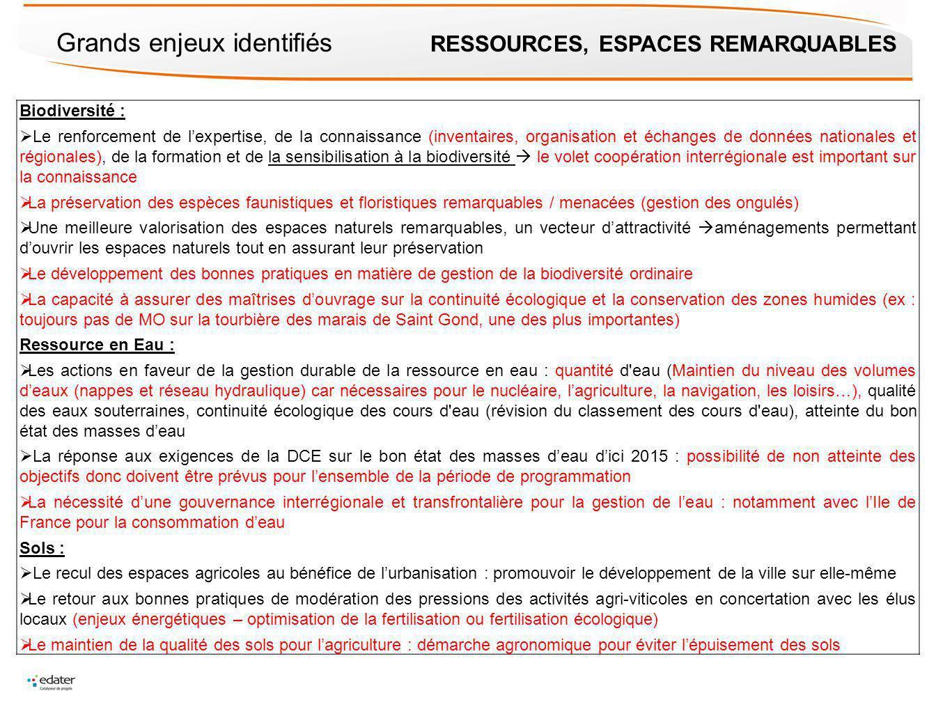 Grands enjeux identifiés RESSOURCES, ESPACES REMARQUABLES