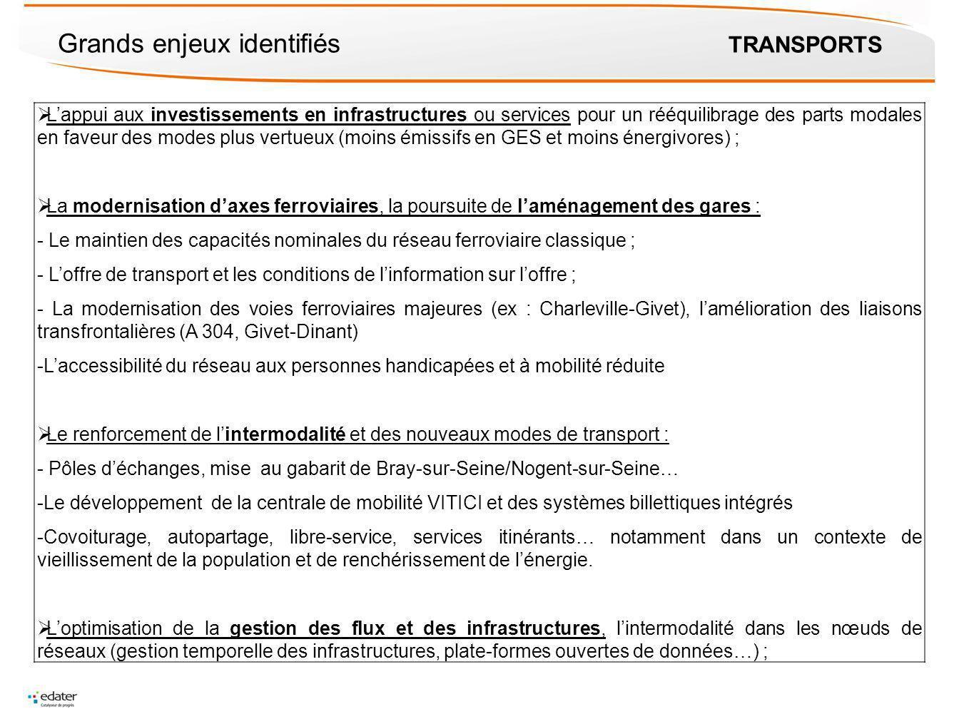 Grands enjeux identifiés TRANSPORTS