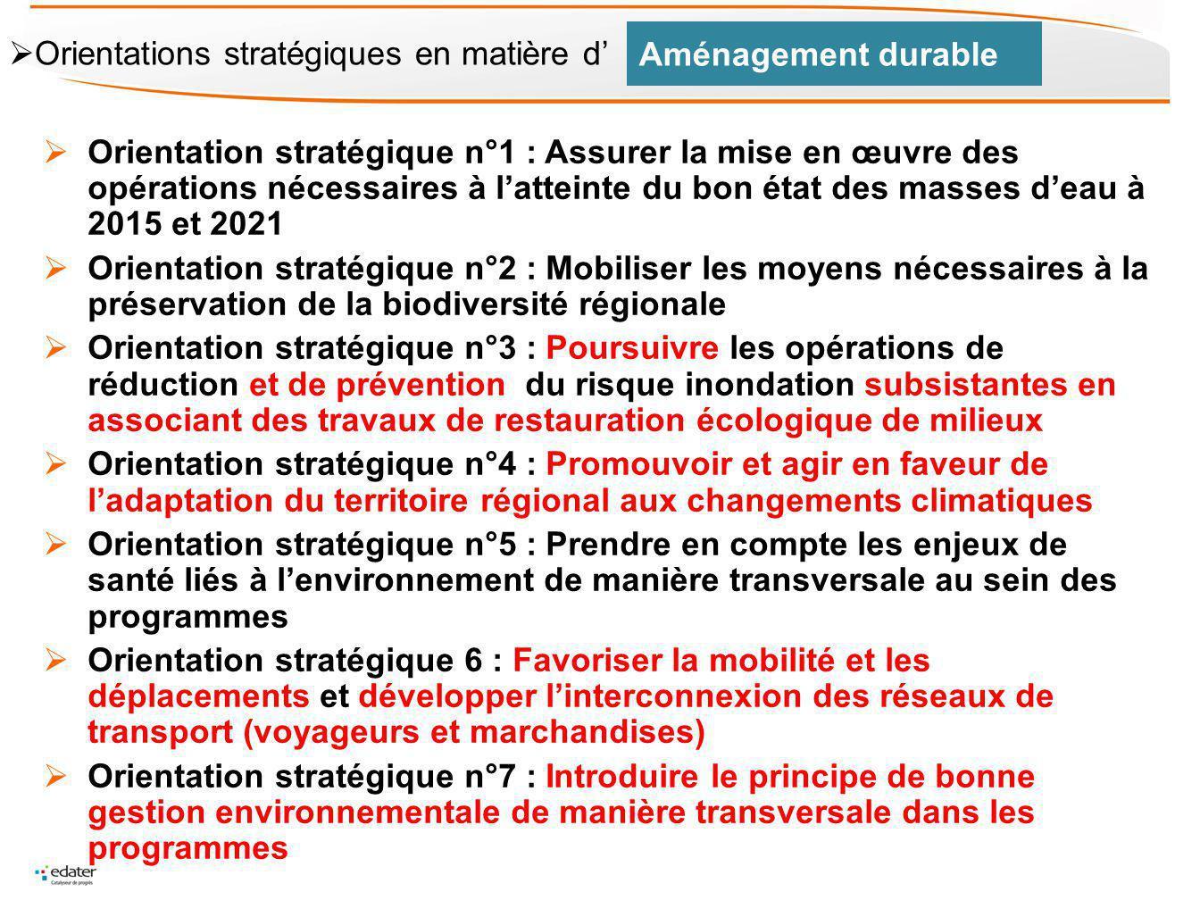 Aménagement durable Orientations stratégiques en matière d'