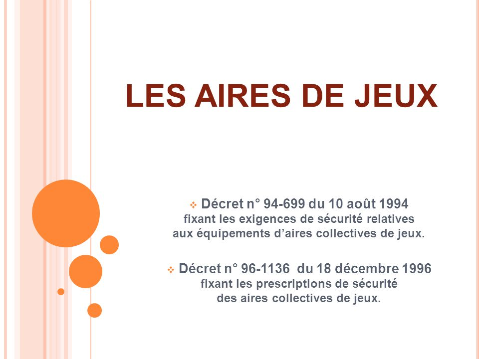 LES AIRES DE JEUX Décret n° 94-699 du 10 août 1994