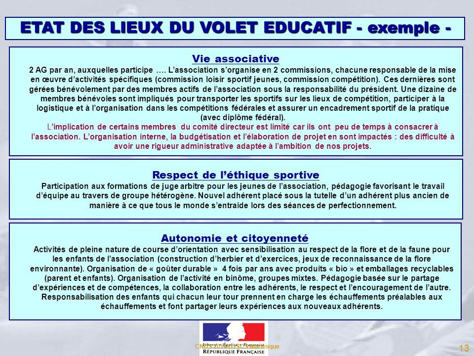 ETAT DES LIEUX DU VOLET EDUCATIF - exemple -