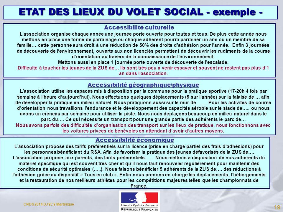 ETAT DES LIEUX DU VOLET SOCIAL - exemple -