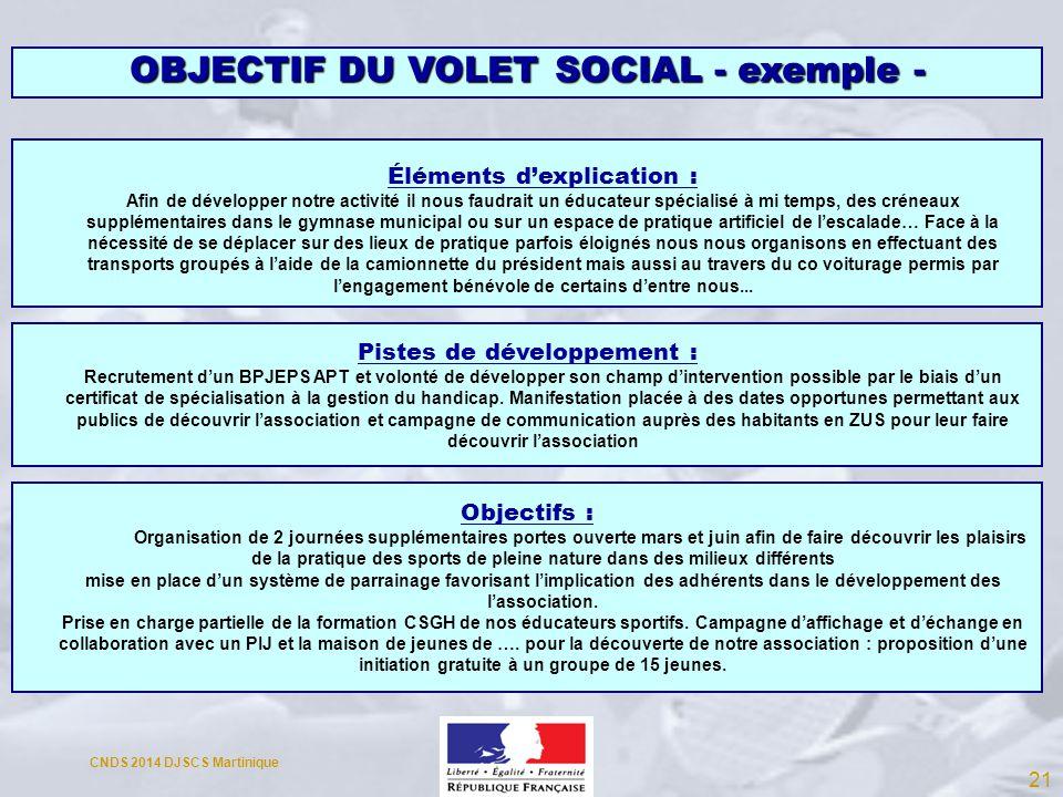 OBJECTIF DU VOLET SOCIAL - exemple -
