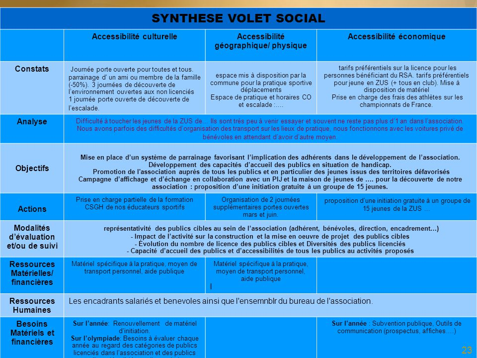 SYNTHESE VOLET SOCIAL Accessibilité culturelle