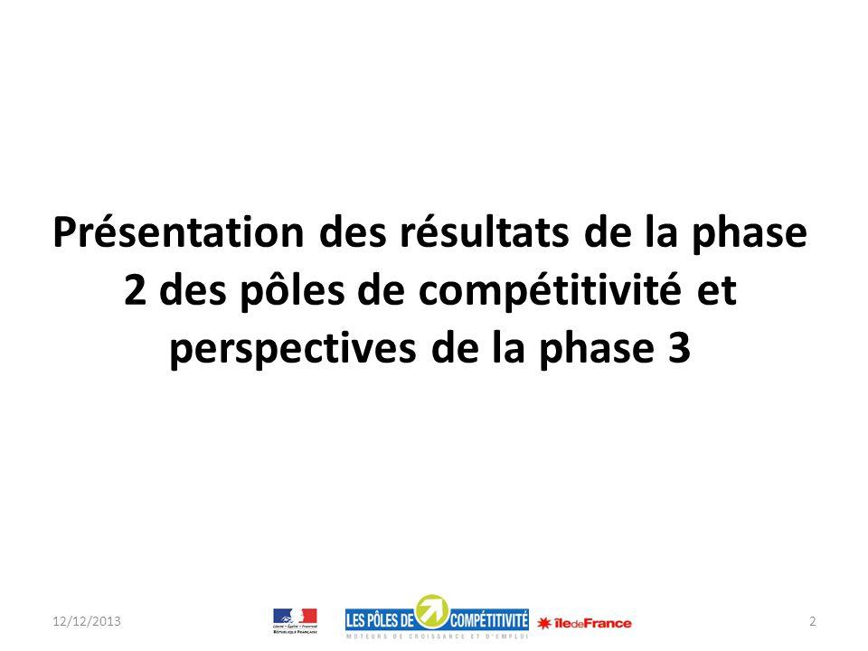 Présentation des résultats de la phase 2 des pôles de compétitivité et perspectives de la phase 3