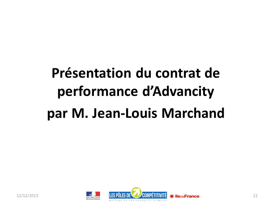 Présentation du contrat de performance d'Advancity par M