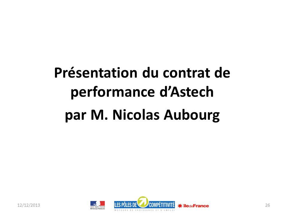 Présentation du contrat de performance d'Astech par M. Nicolas Aubourg