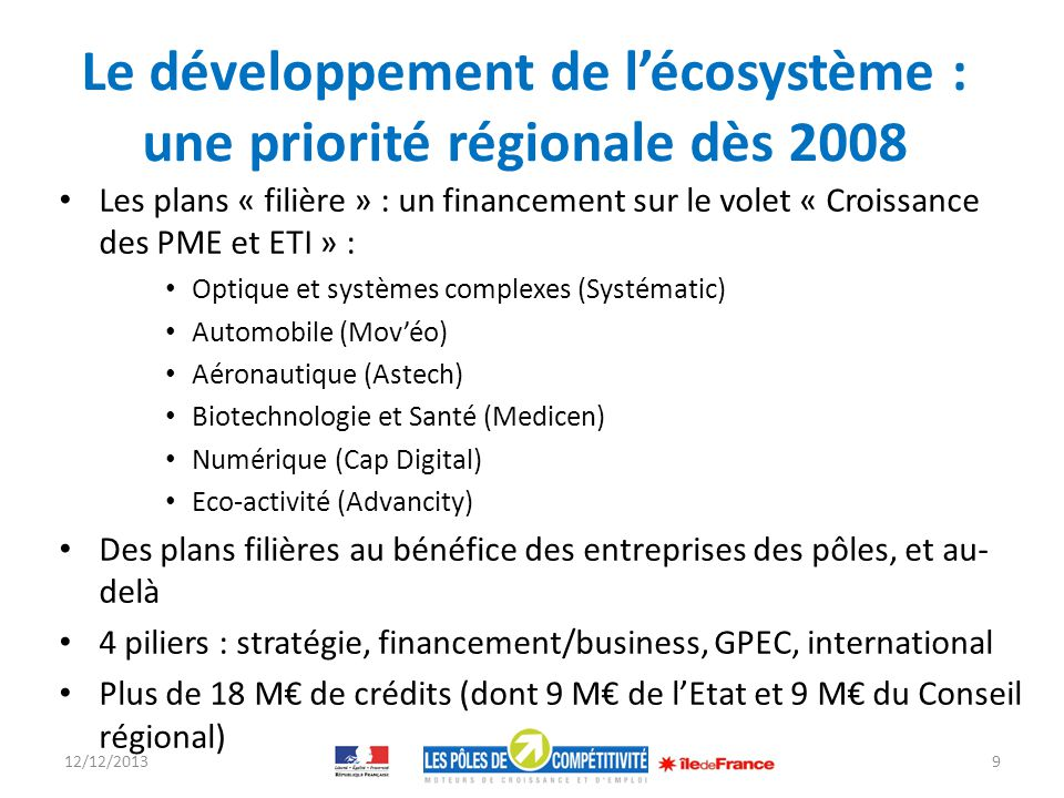 Le développement de l'écosystème : une priorité régionale dès 2008