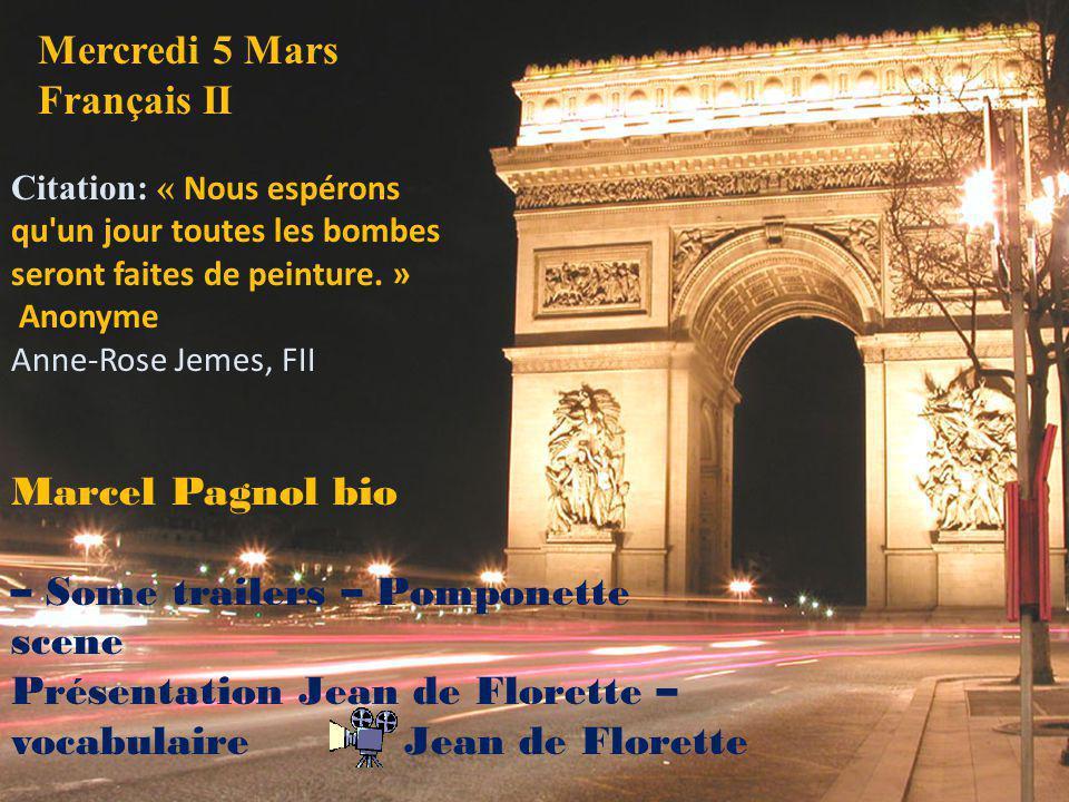 Mercredi 5 Mars Français II
