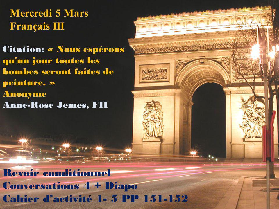 Mercredi 5 Mars Français III