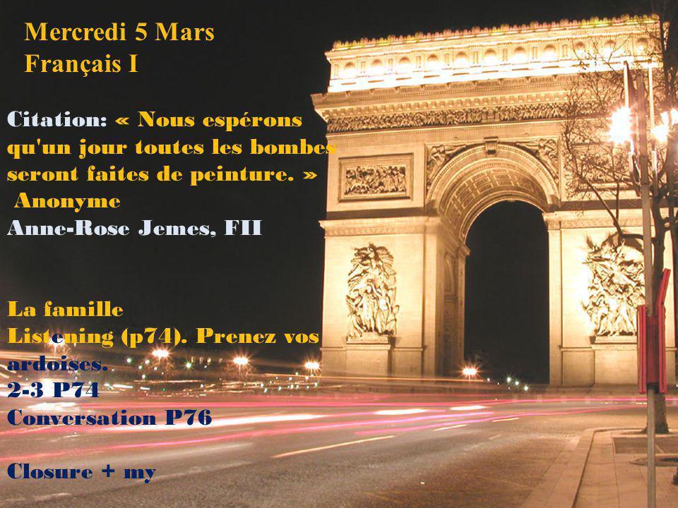 Mercredi 5 Mars Français I