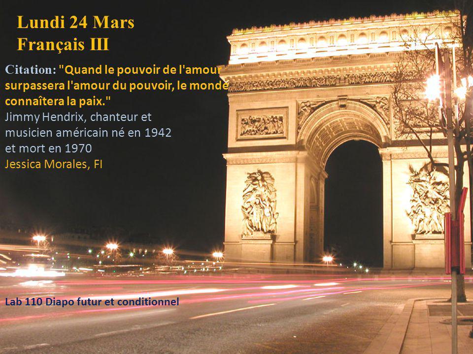 Lundi 24 Mars Français III