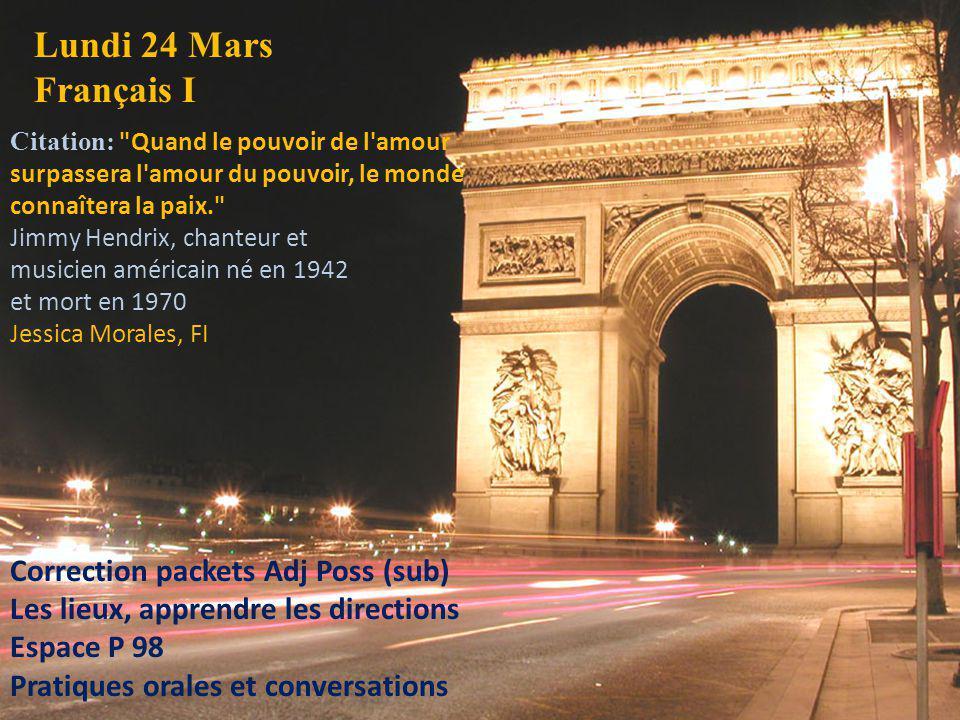 Lundi 24 Mars Français I Correction packets Adj Poss (sub)