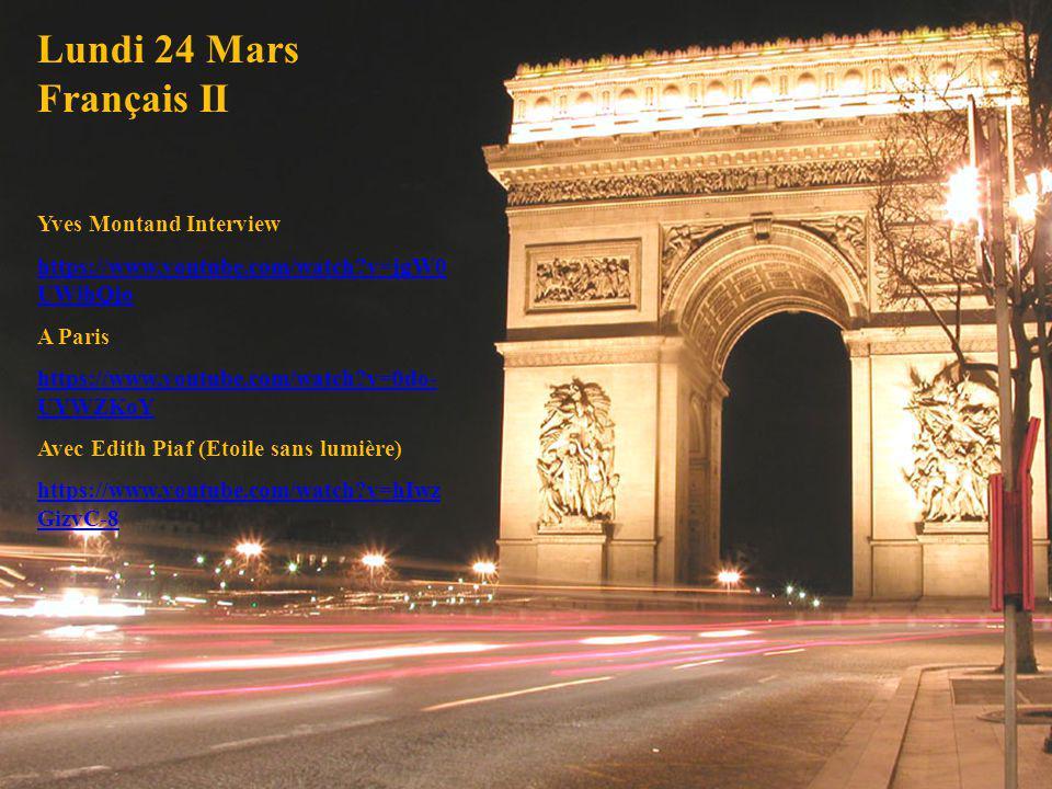 Lundi 24 Mars Français II Yves Montand Interview
