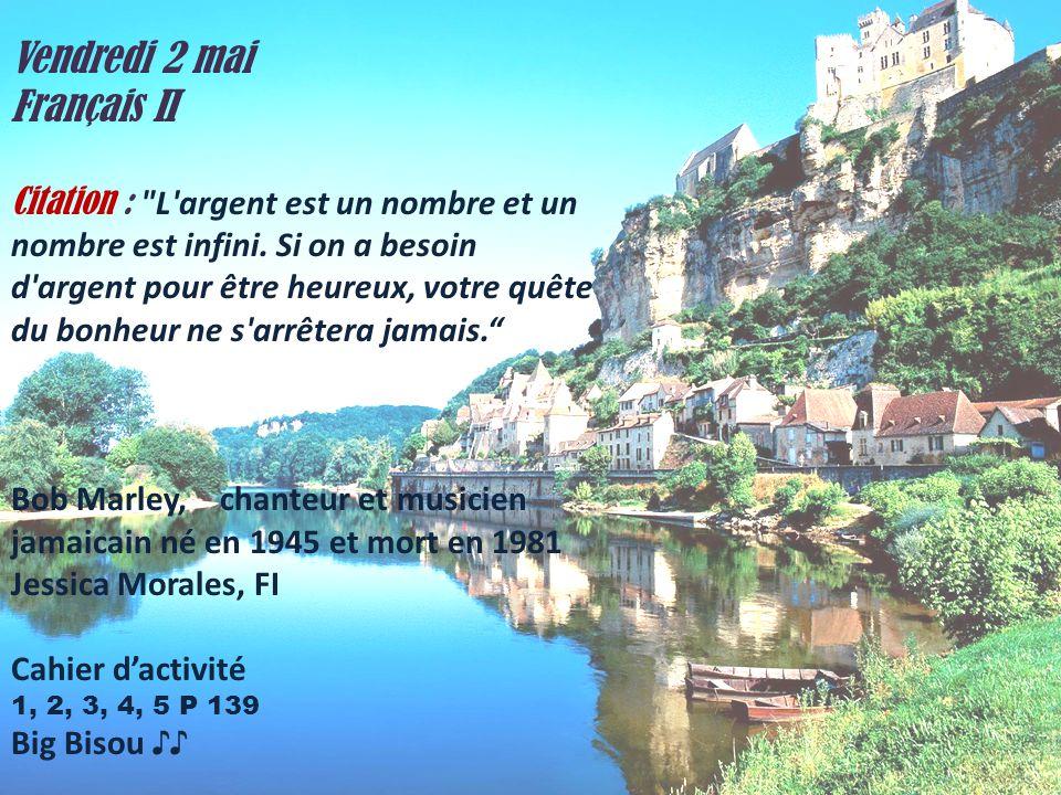 Vendredi 2 mai Français II