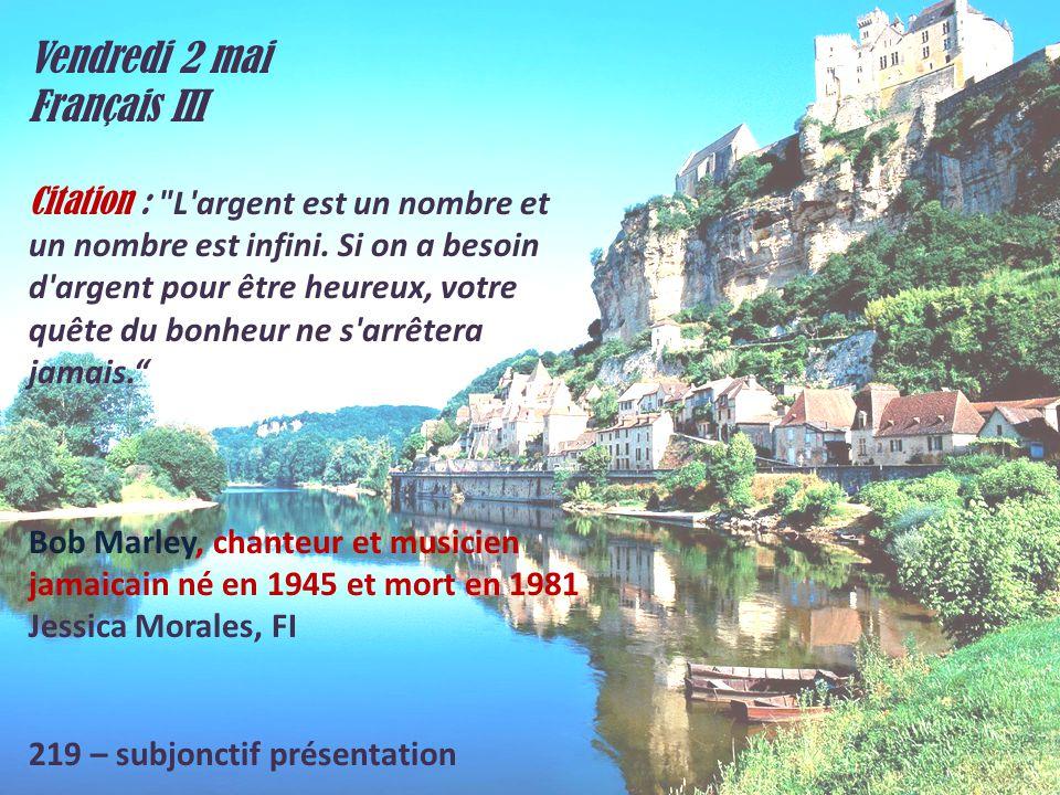 Vendredi 2 mai Français III