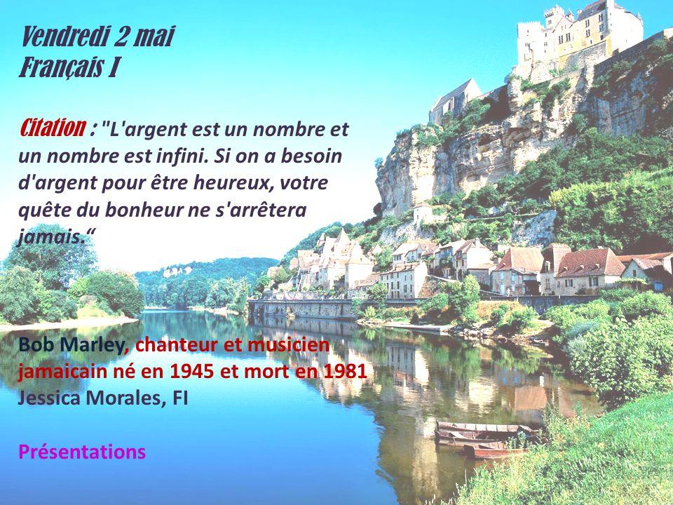 Vendredi 2 mai Français I