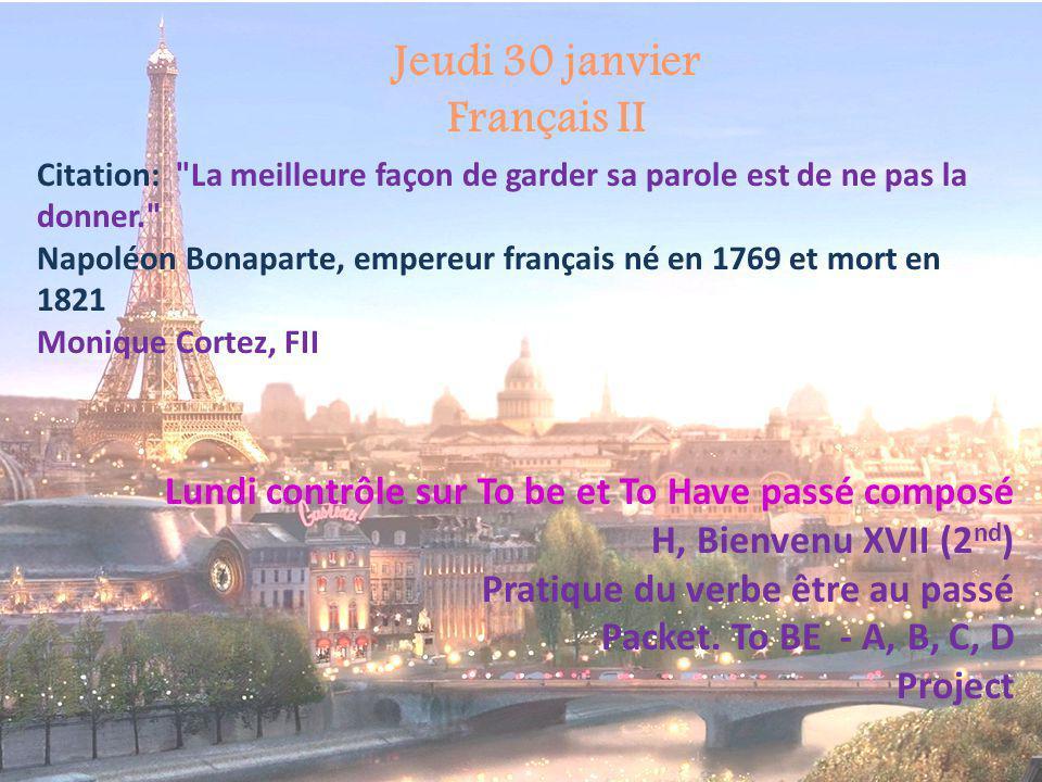 Jeudi 30 janvier Français II