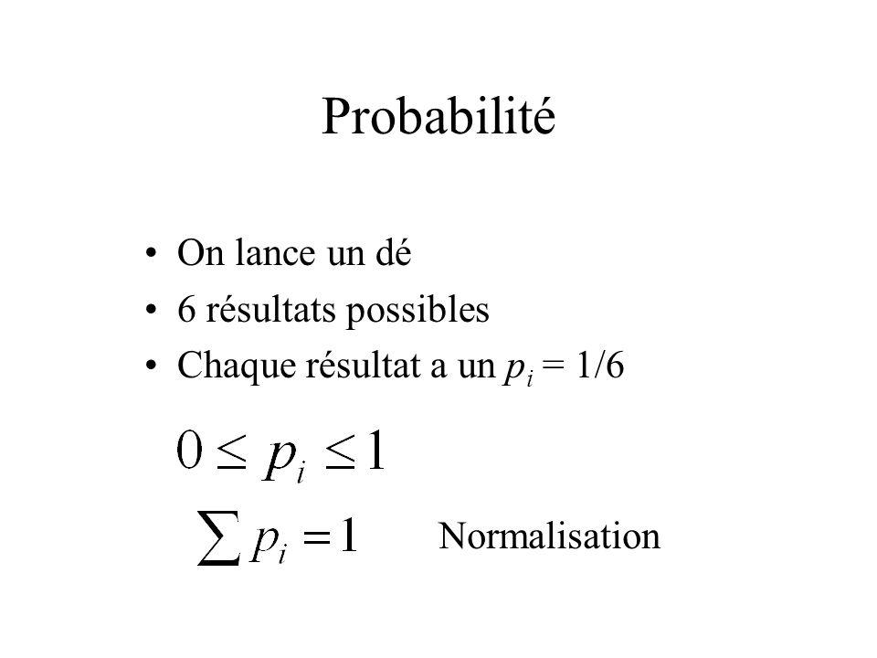 Probabilité On lance un dé 6 résultats possibles