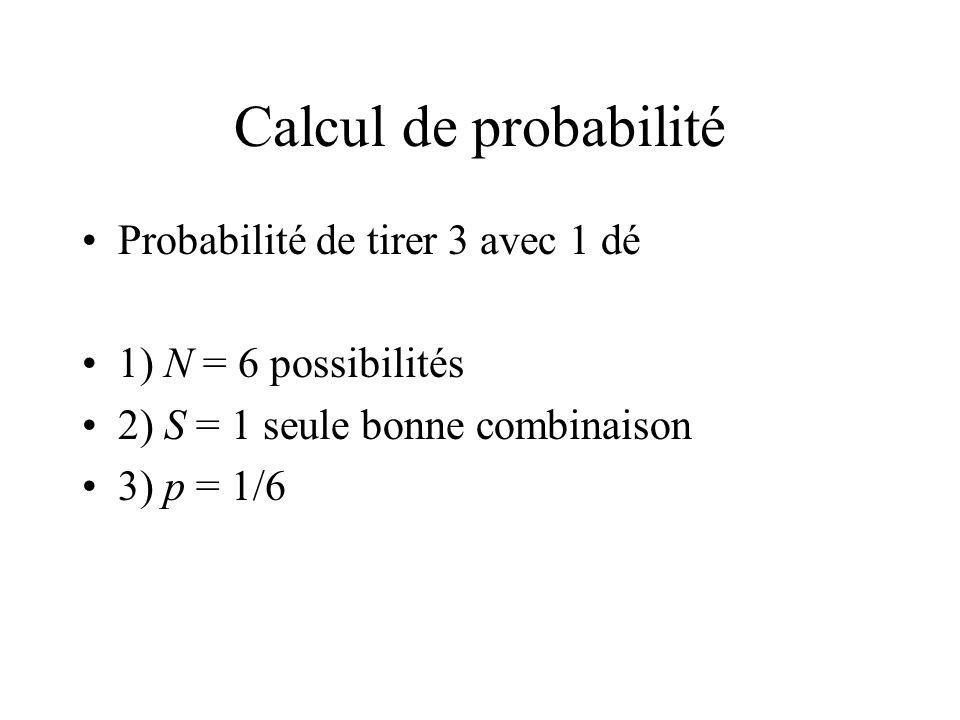 Calcul de probabilité Probabilité de tirer 3 avec 1 dé