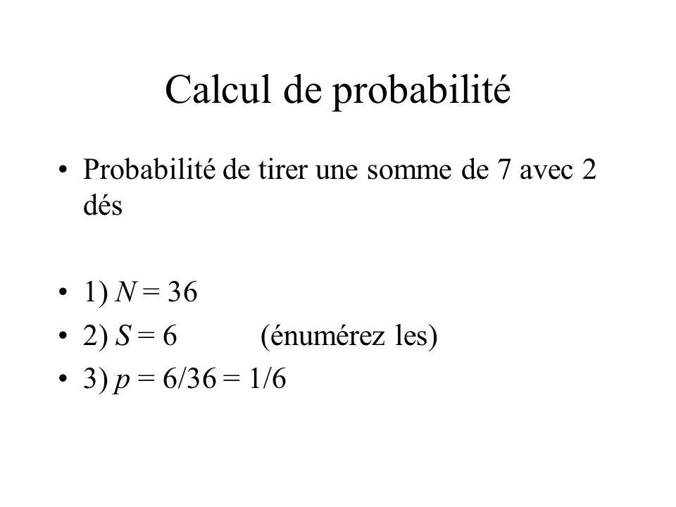 Calcul de probabilité Probabilité de tirer une somme de 7 avec 2 dés