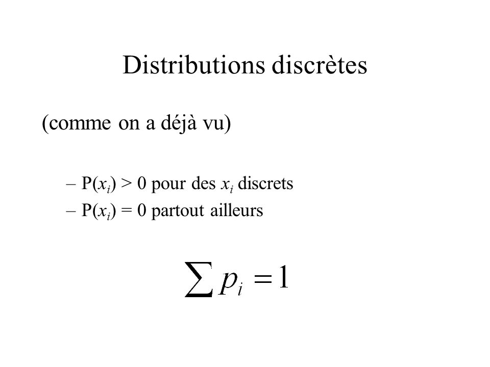 Distributions discrètes