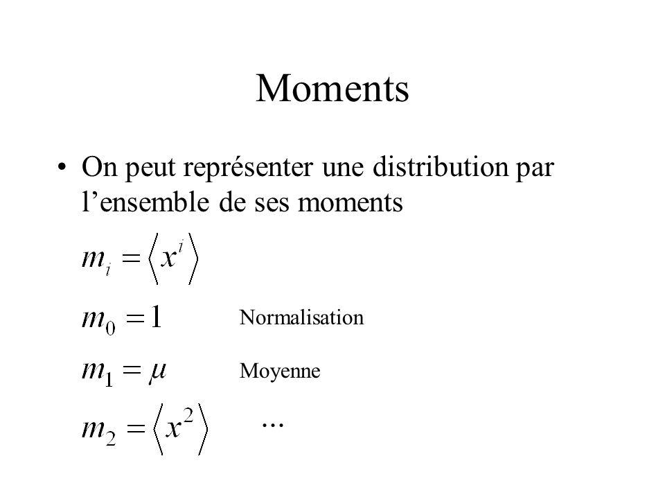 Moments On peut représenter une distribution par l'ensemble de ses moments. Normalisation. Moyenne.