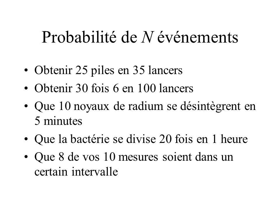 Probabilité de N événements