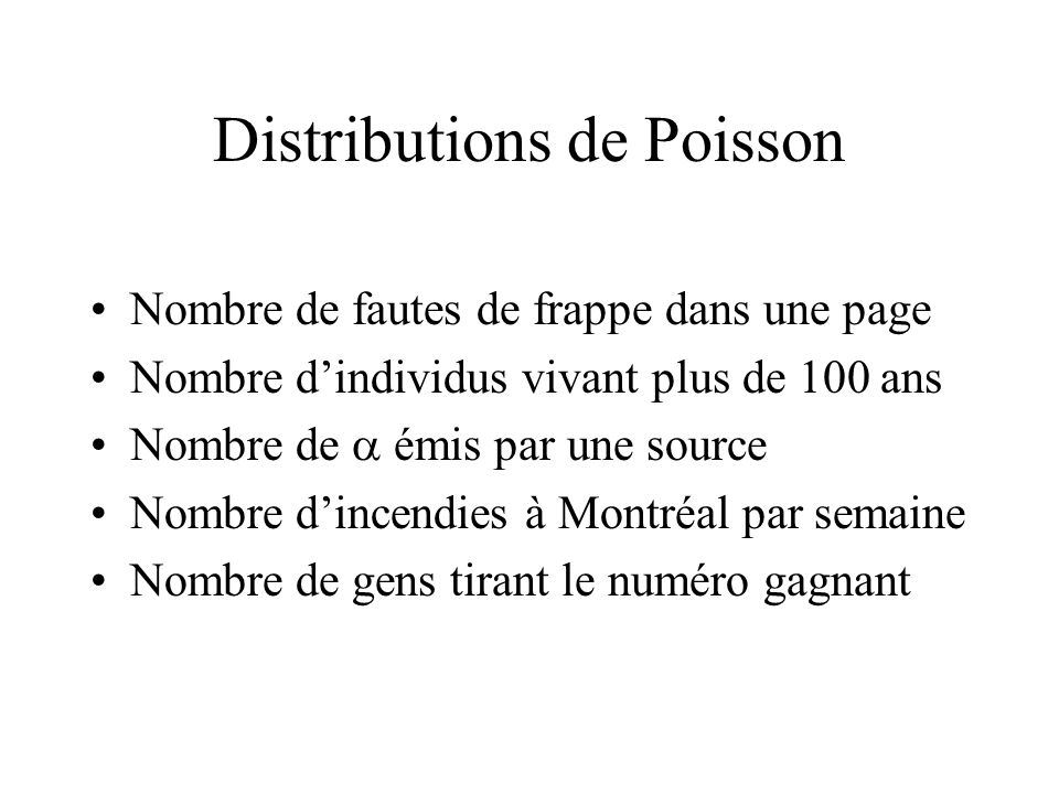 Distributions de Poisson