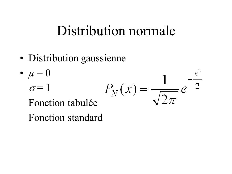 Distribution normale Distribution gaussienne µ = 0 s = 1
