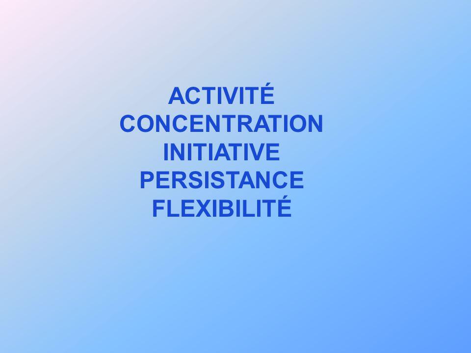ACTIVITÉ CONCENTRATION INITIATIVE PERSISTANCE FLEXIBILITÉ