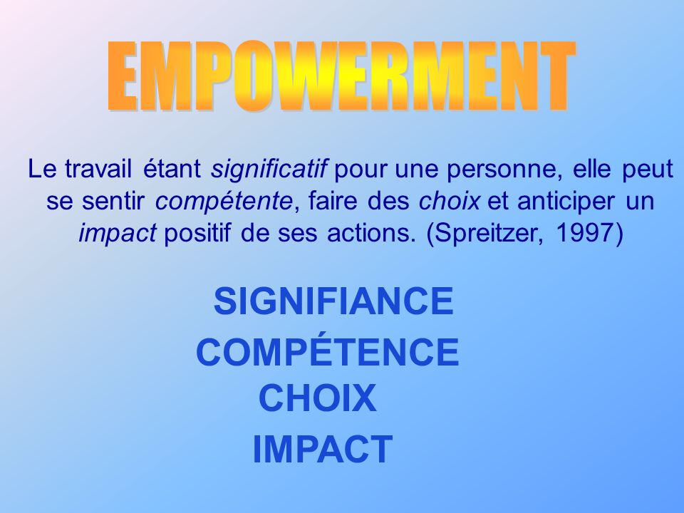 SIGNIFIANCE COMPÉTENCE CHOIX IMPACT EMPOWERMENT