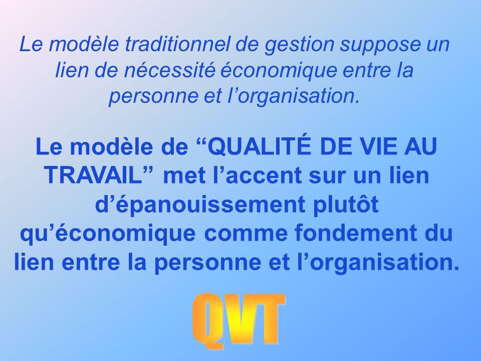 Le modèle traditionnel de gestion suppose un lien de nécessité économique entre la personne et l'organisation.