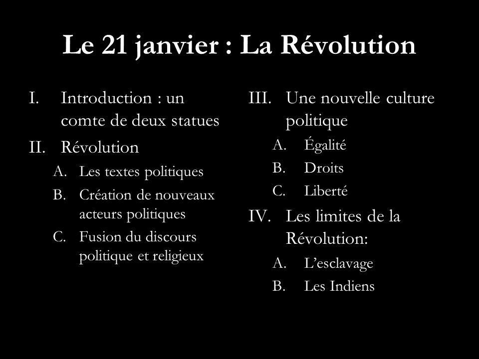 Le 21 janvier : La Révolution