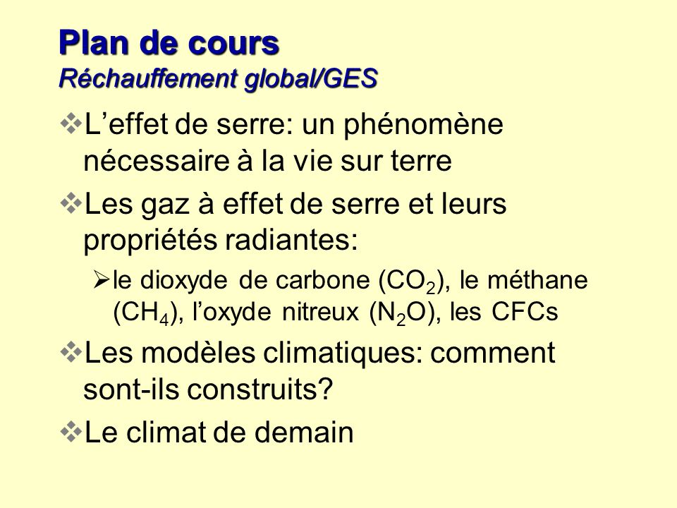 Plan de cours Réchauffement global/GES