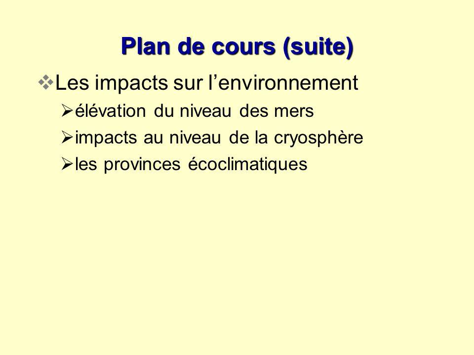 Plan de cours (suite) Les impacts sur l'environnement