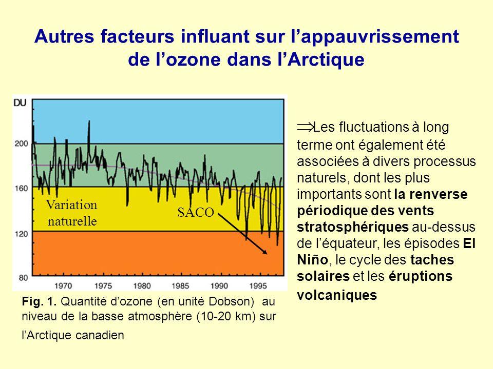 Autres facteurs influant sur l'appauvrissement de l'ozone dans l'Arctique