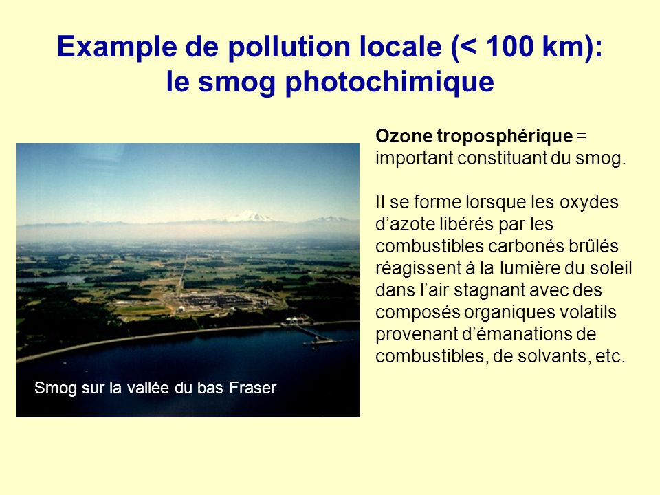 Example de pollution locale (< 100 km): le smog photochimique