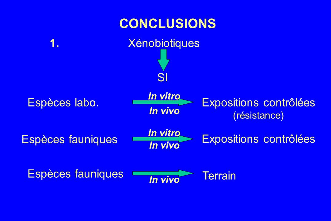 CONCLUSIONS 1. Xénobiotiques SI Espèces labo. Expositions contrôlées