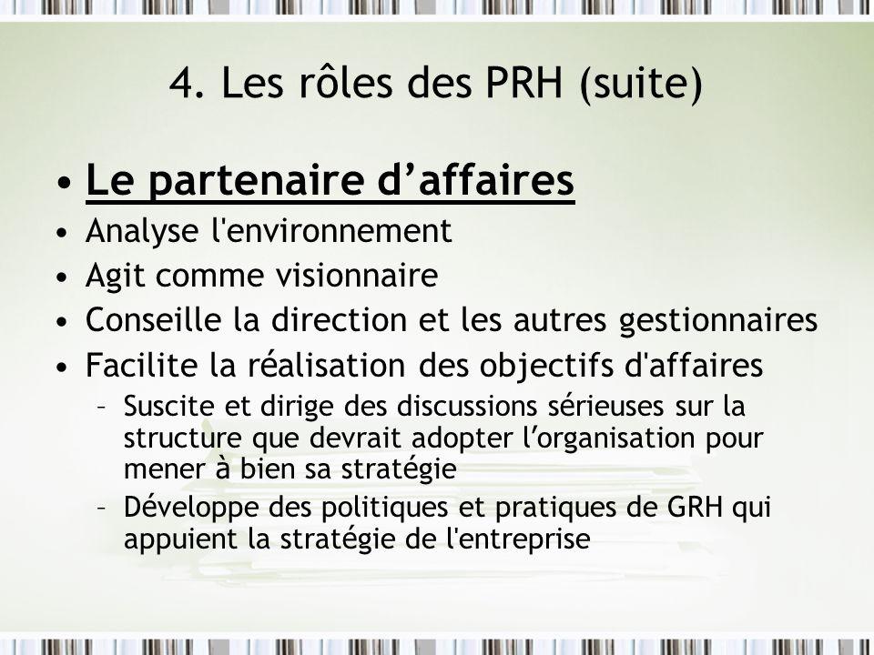 4. Les rôles des PRH (suite)