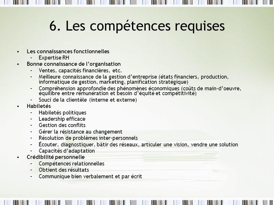 6. Les compétences requises