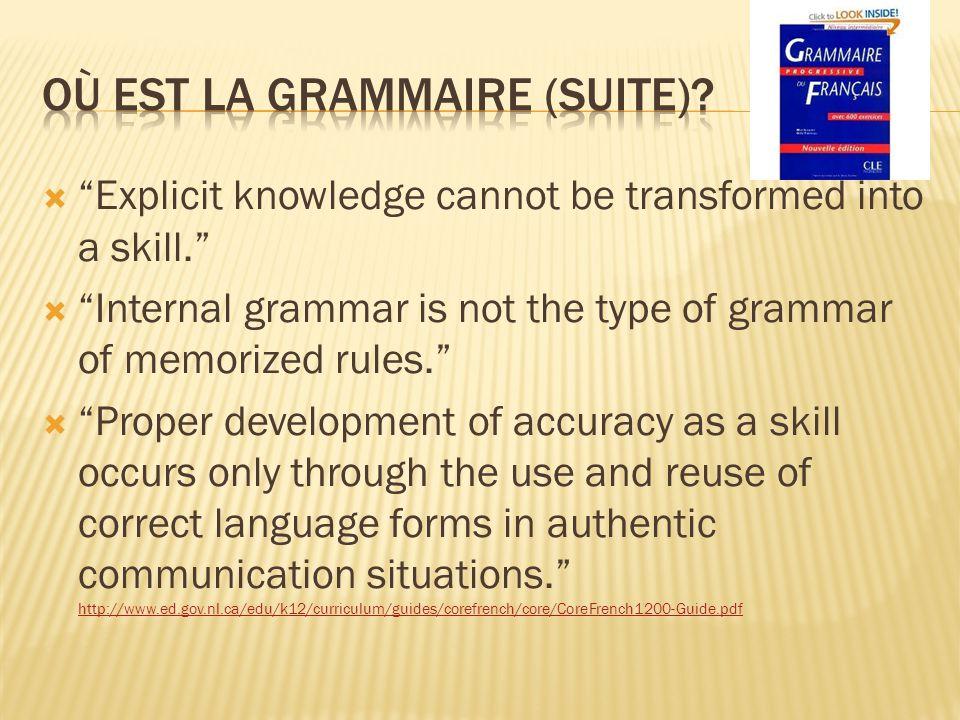 Où est la grammaire (Suite)