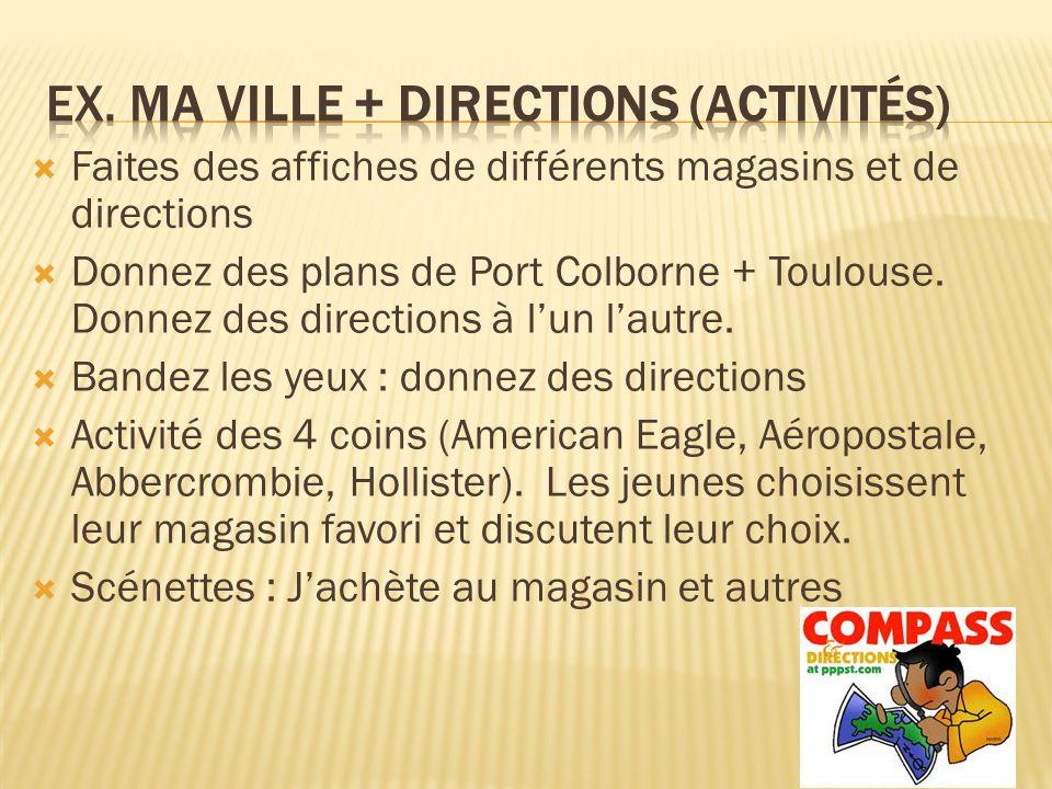 Ex. Ma ville + Directions (Activités)