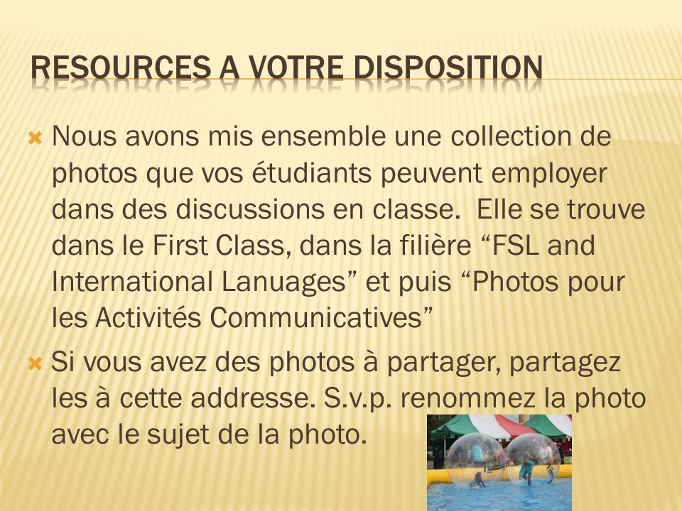 Resources a votre disposition