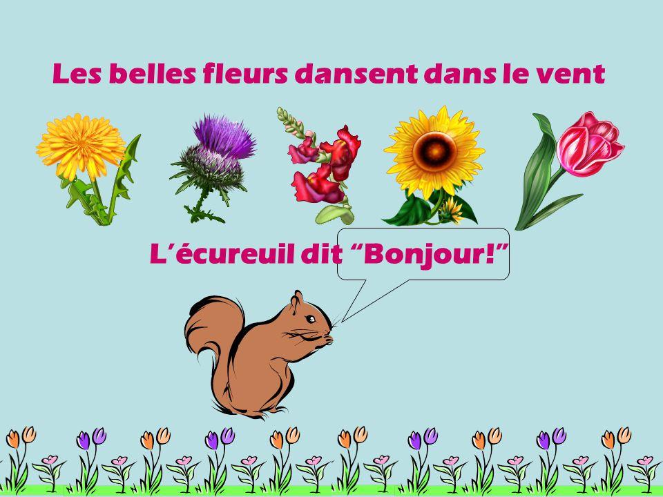 Les belles fleurs dansent dans le vent L'écureuil dit Bonjour!