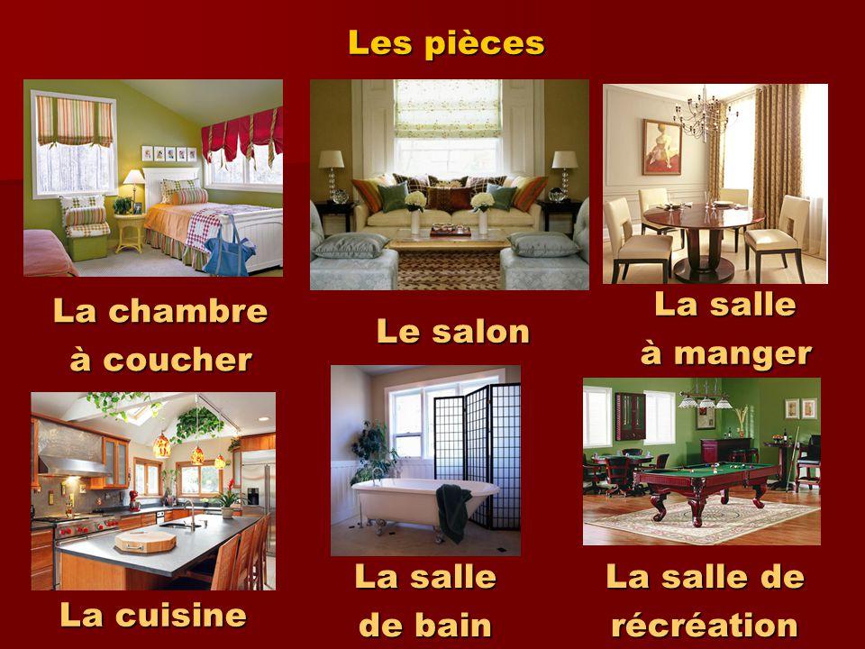Les pièces La salle. à manger. La chambre. à coucher. Le salon. La salle. de bain. La salle de.