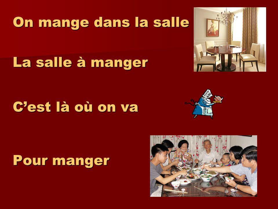 On mange dans la salle La salle à manger C'est là où on va Pour manger