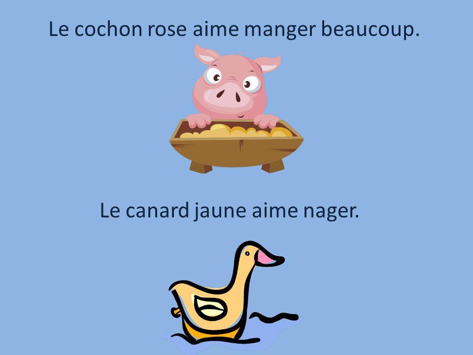 Le cochon rose aime manger beaucoup.