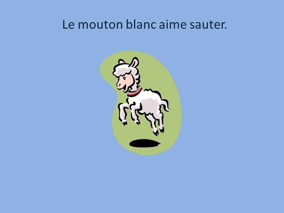 Le mouton blanc aime sauter.